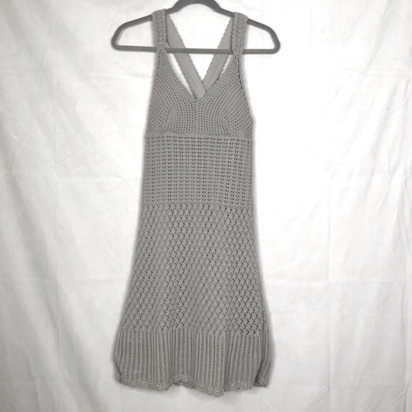Athleta crocheted back cross mini dress